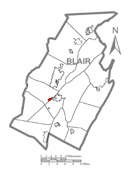 Map of Duncansville, Blair County, Pennsylvania Highlighted.png