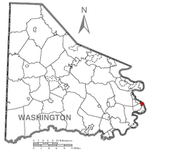 Location of Dunlevy in Washington County