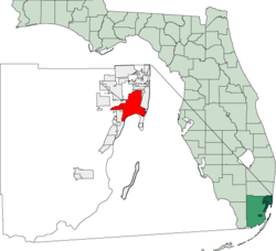 Location in Miami-Dade County and the state of Florida.