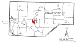 Location of Fredericksburg in Crawford County