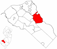Washington Township highlighted in Gloucester County. Inset map: Gloucester County highlighted in the State of New Jersey