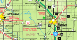 KDOT map of Harvey County (legend)