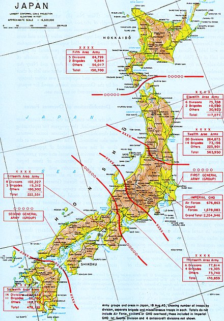 Disposition of Japanese Army Ground Forces in Japan at the time of capitulation, 18 August 1945. Map of Japanese Army Ground Forces in the home islands August 18 1945.jpg