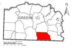 Location of Perry Township in Greene County