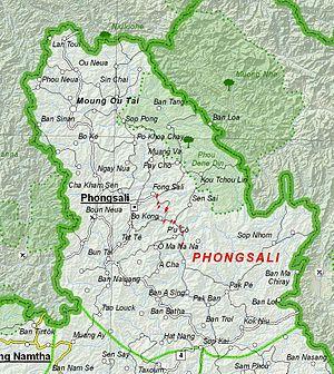Phongsaly Province - Image: Map of Phongsali Province, Laos