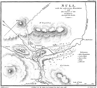 Souliotes - Map of Souli, by William Martin Leake (1835)