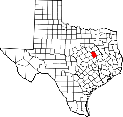 map of Texas highlighting Limestone County