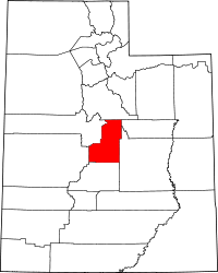 Map of Јута highlighting Sanpete County
