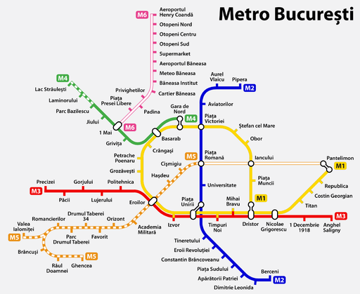 Bucharest metro map, Romania