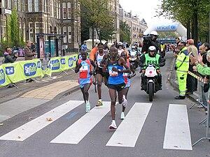 Amsterdam Marathon - Leading group of the 2008 men's race with winner Paul Kirui on the left