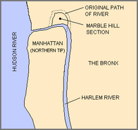 Blue shows the original path of the creek, north around Marble Hill and then curving south around the tip of the Bronx