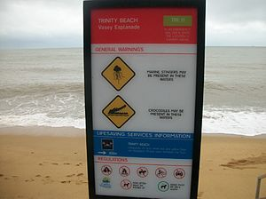 Crocodile attack - Crocodile warning sign, Trinity Beach, Queensland, Australia