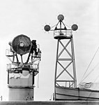 Mark 25 Mod. 6 missile guidance radar aboard USS Norton Sound (AVM-1) on 19 January 1953 (7577384).jpg