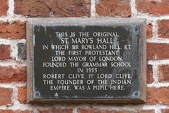 Market Drayton - St. Mary's Hall plaque