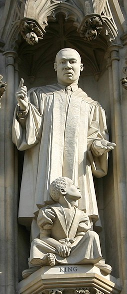 Martin Luther King Jr. statue over the west entrance of Westminster Abbey, installed in 1998 Martin Luther King memorial Westminster Abbey.jpg