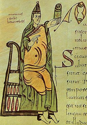Kingdom of the Suebi - Image of St Martin of Braga, (c.510 - 580). Codex Vigilanus or Albeldensis, Escurial library