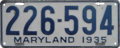 Maryland license plate, 1935.png