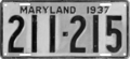 Maryland license plate, 1937.png