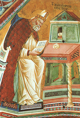 Mongol elements in Western medieval art - Saint Jerome reading a pseudo-Mongol script, consisting of an imitation of blocks of 'Phags-pa letters, written horizontally rather than vertically. 1296–1300, Church of San Francesco Assisi.