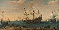 Mauritius - Detail uit Het uitzeilen van een aantal Oost-Indiëvaarders van Hendrick Cornelisz Vroom (1600).jpg