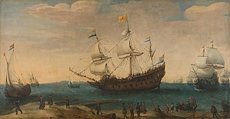 Forecastle - Dutch galleon, off Mauritius, showing both a forecastle (left) and aftcastle (right).