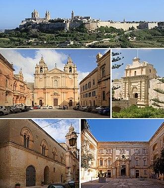 Mdina - From top: Skyline, Cathedral, Main Gate, Palazzo Santa Sofia, Palazzo Vilhena