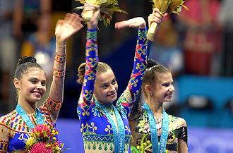 Rhythmic gymnastics - (L-R) Alina Kabaeva (bronze), Yulia Barsukova (gold) and Yulia Raskina (silver) at 2000 Sydney Olympics