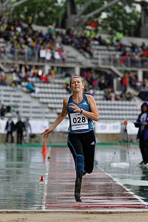 Disabled sports - Iris Pruysen competes in the long jump at the 2014 Paris Athletics Paralympic Meeting.
