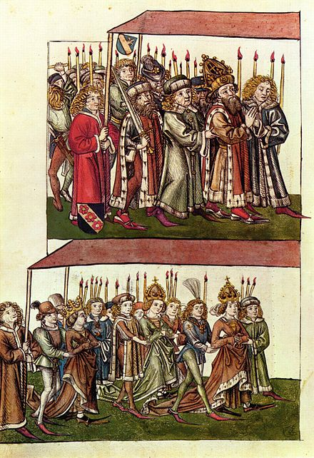 Sigismund and Barbara of Celje at the Council of Constance. Meister der Chronik des Konzils von Konstanz 001.jpg