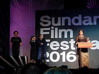 Lynskey accepting her Special Jury Award for The Intervention (2016) at the Sundance Film Festival Melanie Lynskey, The Intervention (24766766930).jpg