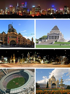 Melbourne - (From top left to bottom right) Melbourne City Centre, Flinders Street Station, Shrine of Remembrance, Federation Square, Melbourne Cricket Ground,  Royal Exhibition Building.