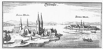 Roman Catholic Diocese of Chiemsee - Herrenchiemsee (left); Engraving by Merian, c. 1644