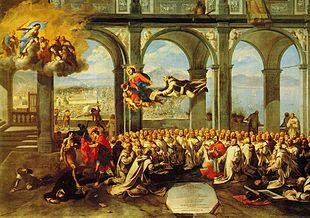 Micco Spadaro, Rendimendo di grazie dopo la peste, 1657, Museo di San Martino, Napoli. Tra i religiosi che pregano è visibile il cardinale Ascanio Filomarino.