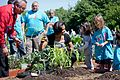 Michelle Obama and American Indian children plant traditional crops in the White House Kitchen Garden, 2011.jpg