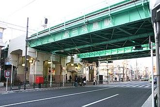 Mikawashima Station - Station entrance under elevated tracks
