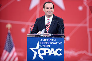 Mike Lee (American politician) - Mike Lee speaking at the 2015 Conservative Political Action Conference (CPAC) in National Harbor, Maryland on February 26, 2015.