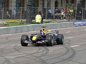 Mikhail Aleshin - Aleshin driving a Red Bull RB2 at Moscow City Racing show (2008).