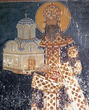 Studenica Monastery - King Milutin with a model of King's Church, a fresco from King's Church.
