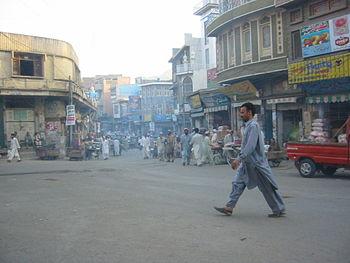 English: Taj Chowk, A street in Mingora, Pakistan.