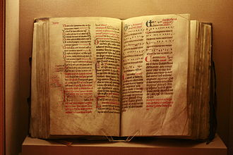 Rubric - Dominican Missal, c. 1240, with rubrics in red (Historical Museum of Lausanne)