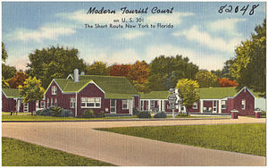 "U.S. Route 301 - Advertised as ""The Short Route New York to Florida"" on a motel postcard c.1940s"