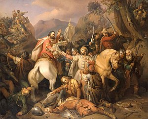 Battle of Posada - Dezső sacrifices himself protecting Charles Robert. by József Molnár, oil on canvas in 1855