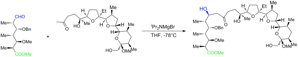 Monensin total synthesis Kishi 1979 JACS final stage aldol coupling