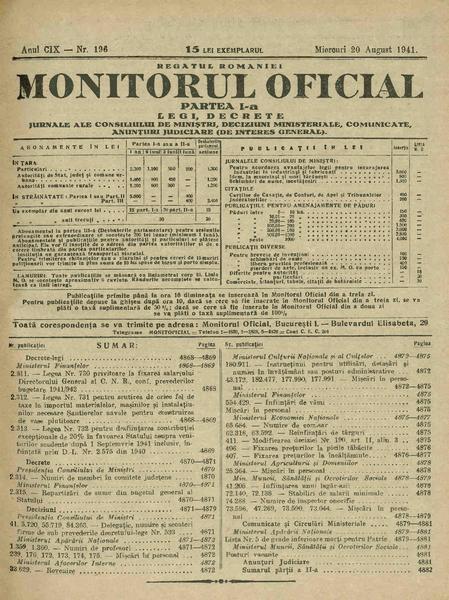 File:Monitorul Oficial al României. Partea 1 1941-08-20, nr. 196.pdf