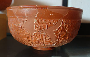 Montans - Roman Samian ware (terra sigillata) bowl, manufactured at Montans, and photographed in the Montans 'Archeosite' museum