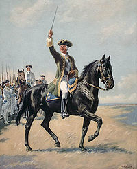 Image of Montcalm leading his troops by Toronto printer Ralph Clark Stone.