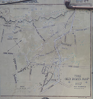 Montclair, New Jersey - A mural of the road map of Montclair from 1857, when it was known as West Bloomfield.