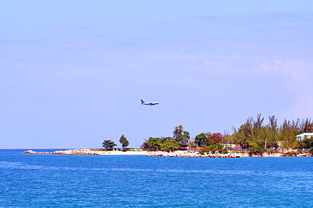 A US Airways aircraft landing at Montego Bay (2013) Montego Bay plane Photo D Ramey Logan.jpg