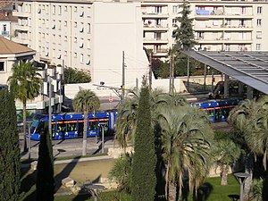 Montpellier tramway - Trams from Line 1 and Line 2 meeting at Corum.