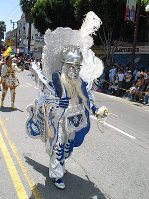Morenada - Morenada dancer during a festival in San Francisco in the United States wearing a barrel-like costume.
